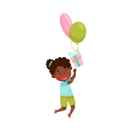 Cute African American Girl Character Catching Gift Box with Balloons Vector Illustration