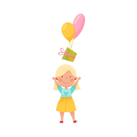 Cute Girl Character Catching Gift Box with Balloons Vector Illustration Ilustração