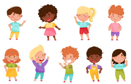 Kid Characters Pointing at Something with Their First Finger  Illustration Set Vectores