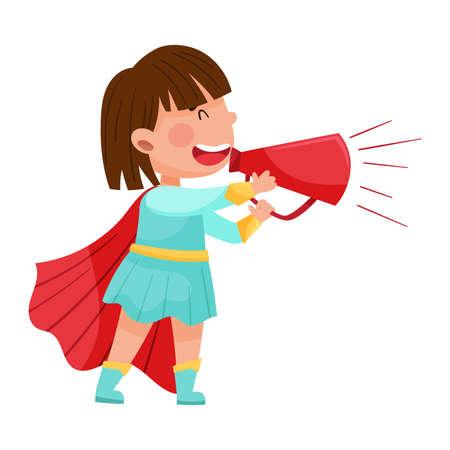 Little Girl Character Dressed in Fancy Costume Talking Megaphone or Loudspeaker Vector Illustration