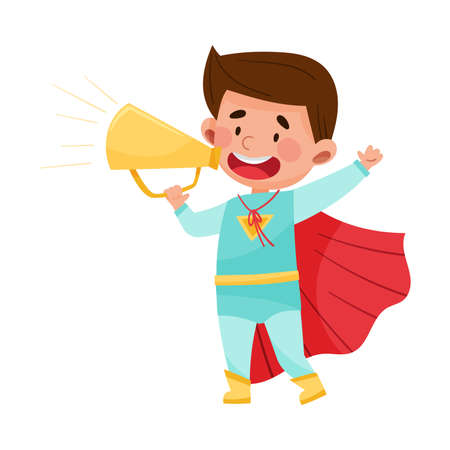 Little Boy Character Wearing Red Cloak Talking Megaphone or Loudspeaker Vector Illustration