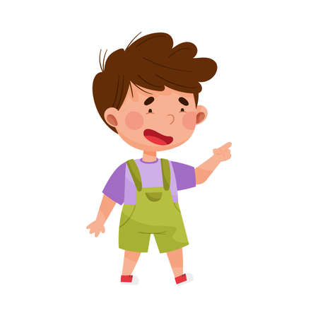 Dark Haired Boy Character Pointing at Something with His First Finger Vector Illustration