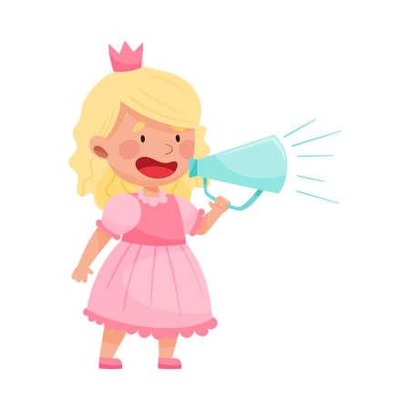 Little Girl Character Dressed in Fancy Princess Costume Talking Megaphone or Loudspeaker Vector Illustration Ilustração