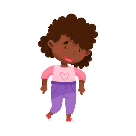 African American Girl Character Pointing at Something with Her First Finger Vector Illustration