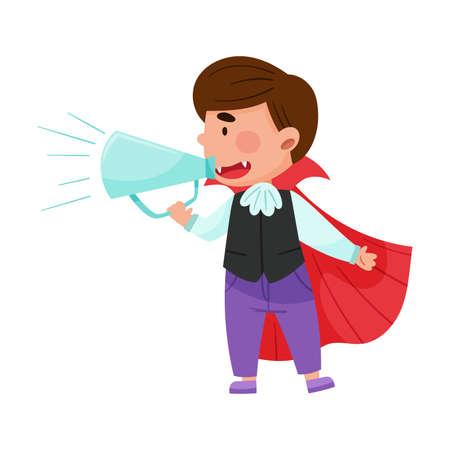 Little Boy Character Dressed in Fancy Costume Talking Megaphone or Loudspeaker Vector Illustration