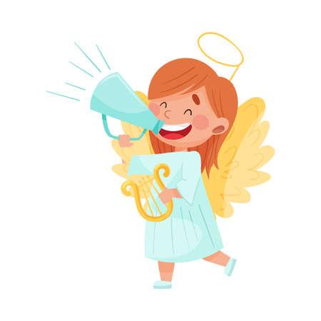 Little Girl Character Dressed in Fancy Angel Costume Talking Megaphone or Loudspeaker Vector Illustration