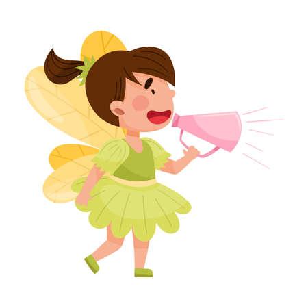 Little Girl Character Dressed in Fancy Fairy Costume Talking Megaphone or Loudspeaker Vector Illustration Ilustração