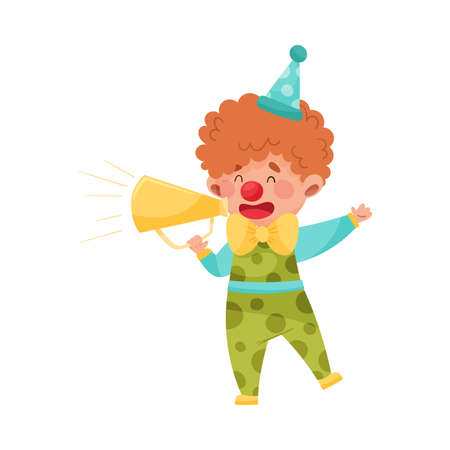 Little Boy Character Dressed in Fancy Clown Costume Talking Megaphone or Loudspeaker Vector Illustration