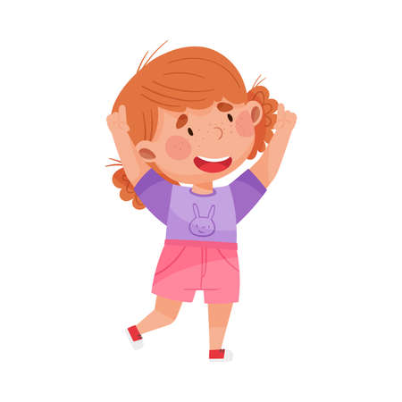 Smiling Girl Character with Red Hair Pointing at Something with Her First Finger Vector Illustration Vektorgrafik