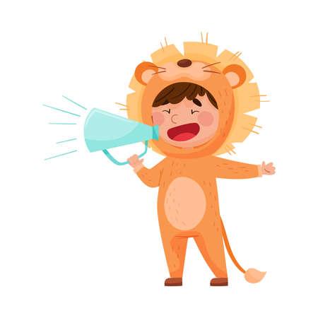 Little Boy Character Dressed in Lion Costume Talking Megaphone or Loudspeaker Vector Illustration