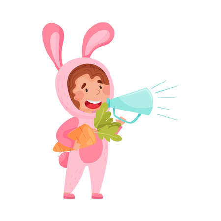 Cute Girl Character Dressed in Fancy Bunny Costume Talking Megaphone or Loudspeaker Vector Illustration