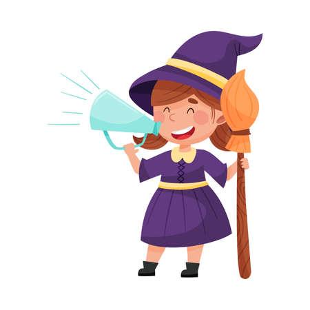 Little Girl Character Dressed in Fancy Witch Costume Talking Megaphone or Loudspeaker Vector Illustration Ilustração
