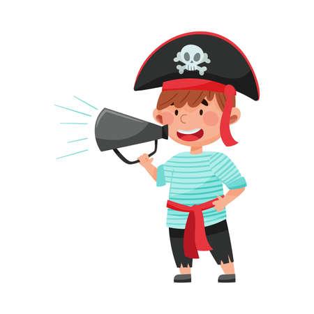 Little Boy Character Dressed in Pirate Costume Talking Megaphone or Loudspeaker Vector Illustration