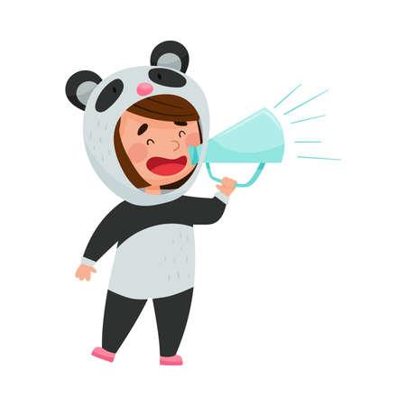 Cute Girl Character Dressed in Fancy Panda Costume Talking Megaphone or Loudspeaker Vector Illustration Ilustração