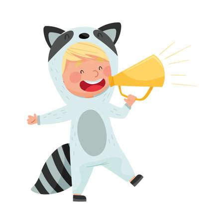 Funny Boy Character Dressed in Raccoon Costume Talking Megaphone or Loudspeaker Vector Illustration Ilustração