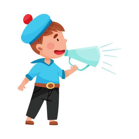 Funny Boy Character Dressed in Seaman Costume Talking Megaphone or Loudspeaker Vector Illustration