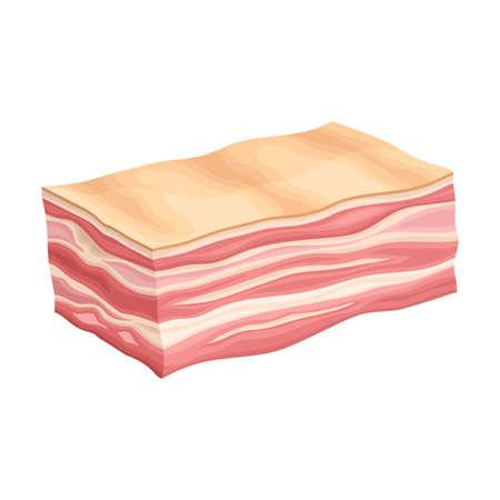 Lard Slab or High-fat Bacon as Meat Product Vector Illustration Illusztráció