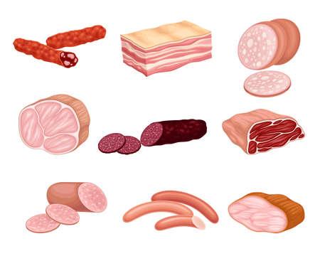 Meat Products with Salami, Bacon and Sausage Vector Set Illusztráció