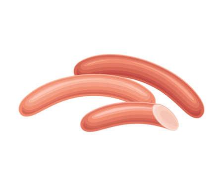 Sausage or Frankfurter as Meat Product Vector Illustration Illusztráció