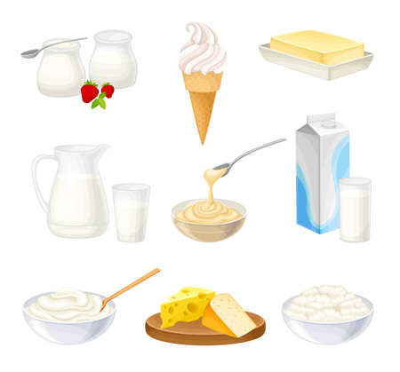 Dairy Products with Sour Cream in Bowl, Cheese and Yogurt Vector Set
