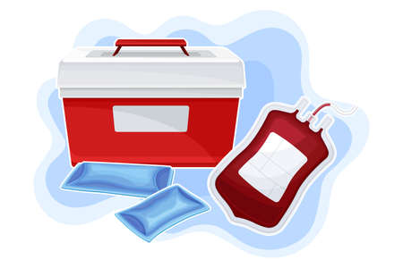 Portable Fridge or Cooler for Transporting Donor Organs and Blood Vector Composition Illusztráció
