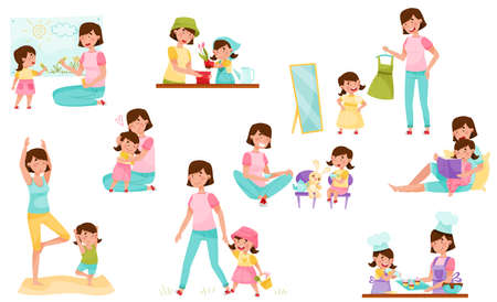Mom and Daughter Doing Yoga, Baking, Reading Book and Walking Vector Illustration Set