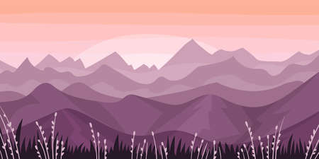 Distant Mountain Peaks and Meadow Flora Horizontal Landscape Vector Illustration