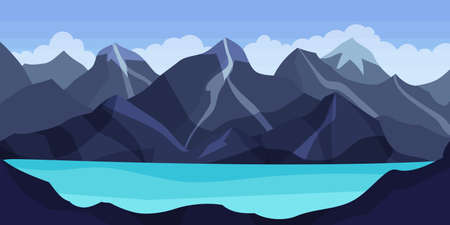 Distant Mountain Peaks and Lake Horizontal Landscape Vector Illustration