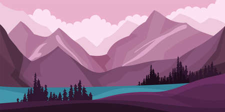 Mountain Peaks and Lake Horizontal Landscape Vector Illustration