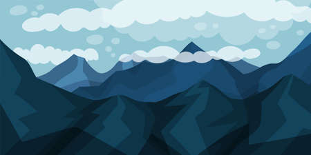 Mountain Peaks or Tops and Clouds Horizontal Landscape Vector Illustration