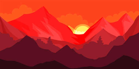 Red Sunset and Mountain Peaks or Tops Horizontal Landscape Vector Illustration
