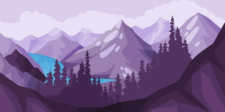Mountain Landscape with Peaks, High Trees and Flashy River Vector Illustration