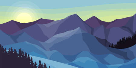 Pines and Mountain Peaks Covered with Snow Horizontal Landscape Vector Illustration Illusztráció