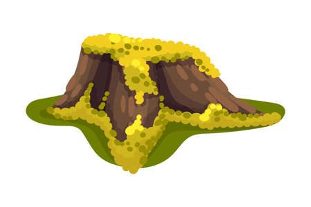 Stump or Tree Stub Covered with Slumpy Moss as Forest Element Vector Illustration