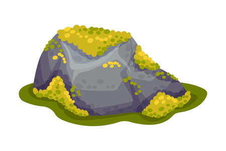 Mossy Stone or Boulder as Forest Element Vector Illustration