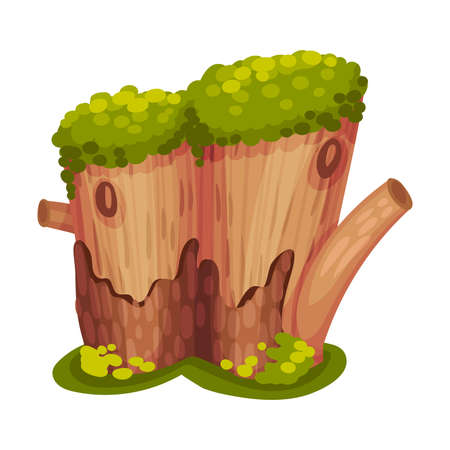 Stump or Tree Stub Covered with Moss as Forest Element Vector Illustration