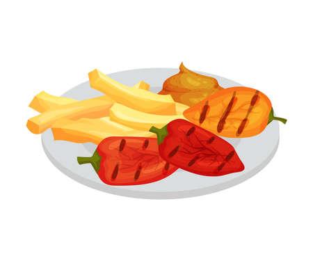 Festive Food for Oktoberfest Celebration with Grilled Pepper and French Fries Vector Illustration Векторная Иллюстрация