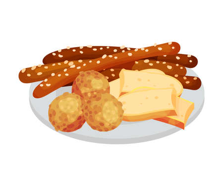 Festive Food for Oktoberfest Celebration with Wurst and Sliced Cheese Rested on Plate Vector Illustration