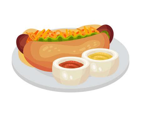 Festive Food for Oktoberfest Celebration with Hot Dog and Mustard Sauce Vector Illustration