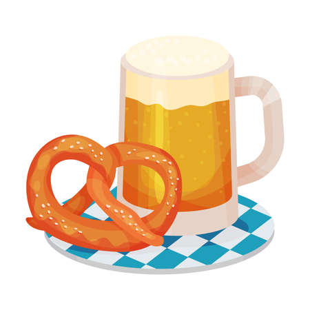 Beer Poured in Glass Mug Rested on Tray with Pretzel as Traditional Drink for Oktoberfest Celebration Vector Illustration
