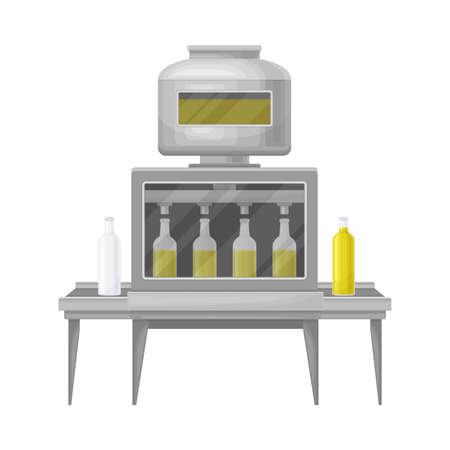 Conveyor Belt with Olive Oil Bottling as Production Process Vector Illustration  イラスト・ベクター素材