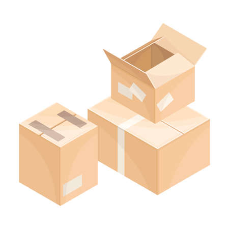 Carton Boxes as Containers for Delivery Goods Vector Isometric Illustration