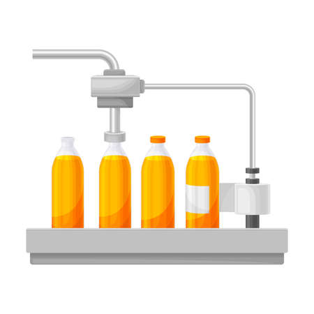 Conveyor Belt with Orange Juice Capping and Labeling Bottles Stage Vector Illustration
