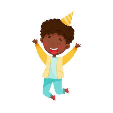 African American Boy Character in Birthday Hat Jumping with Joy Vector Illustration