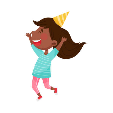 African American Girl Character in Birthday Hat Jumping with Joy Vector Illustration