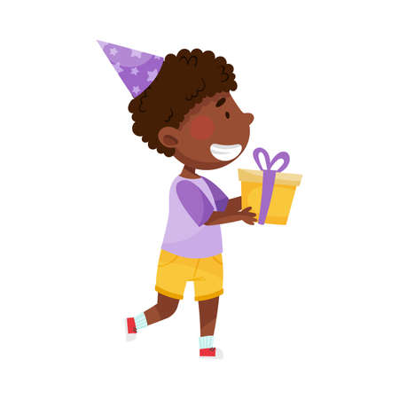 African American Boy Character in Birthday Hat Carrying Gift Box for Party Vector Illustration