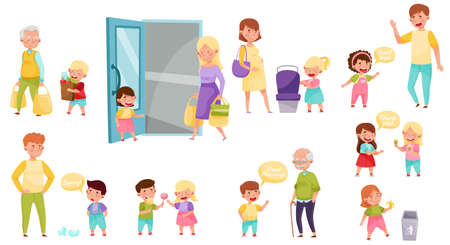 Little Boy and Girl Sharing Treats and Yielding Seat Vector Illustration Set Vecteurs