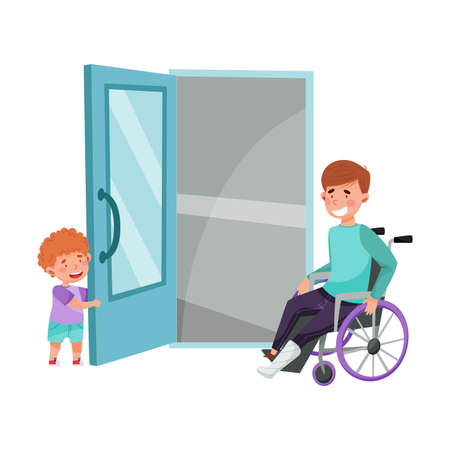 Little Boy Opening Door to Young Man on Wheelchair Vector Illustration Illustration