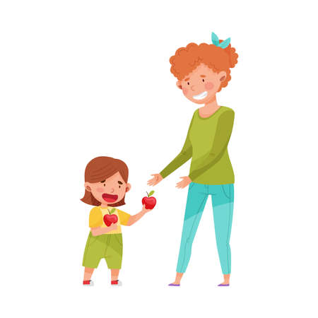 Little Girl Sharing Apple with Young Woman Vector Illustration