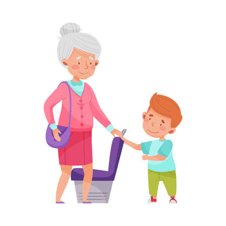 Polite Boy Yielding a Seat to Senior Woman in Public Transport Vector Illustration Illustration